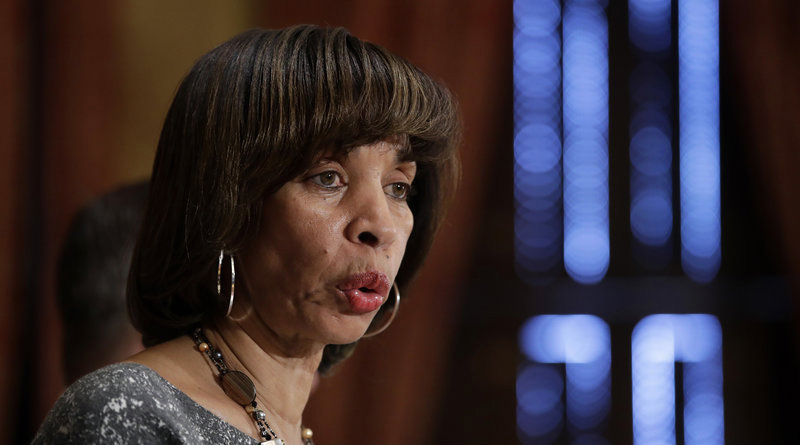 Mayor Catherine Pugh speaks at a news conference at City Hall in Baltimore