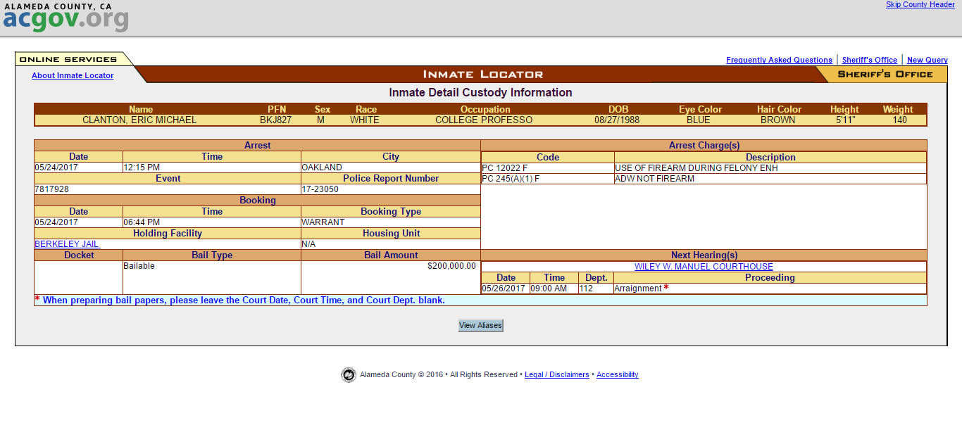 Eric Clanton Inmate Arrest Log